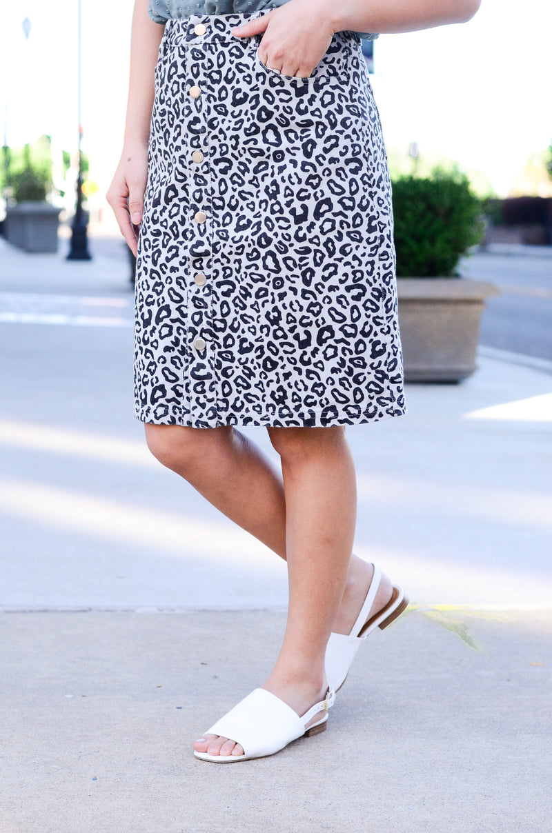 The Leo Leopard Denim Skirt
