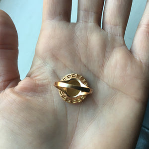 "Vintage Augis Qu'hier Que Demain ""Medal of Love"" 18k gold ring - Size 6.75"