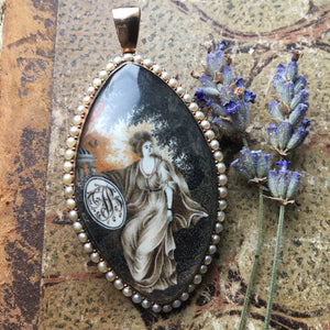 Antique Georgian Mourning Navette Locket