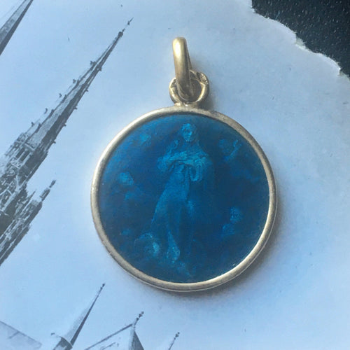 Guilloché enamel Virgin Mary pendant - 18k