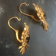 Victorian Revival Style Gold and Onyx Dormeuse Tassel Earrings - 19k