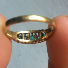 Antique 5 Stone Emerald and Diamond Ring - Size 5