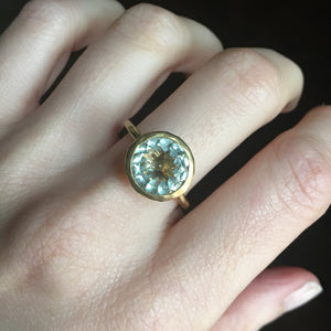 Lemon Quartz Solitaire Ring - Size 7.75/8
