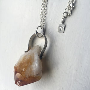 Raw Citrine Crystal Generator Necklace