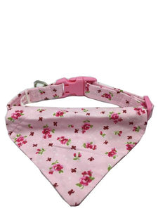 Pink Roses Dog Collar Bandana