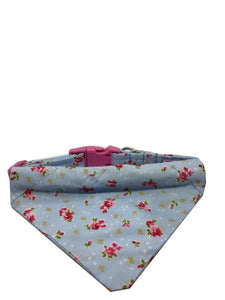 Blue Roses Dog Collar Bandana