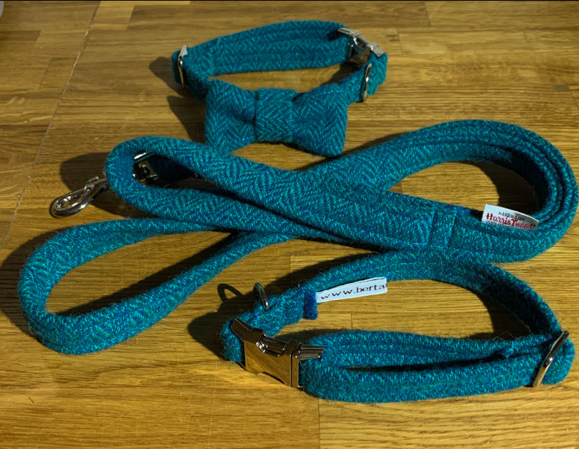 Teal And Navy Herringbone Harris Tweed