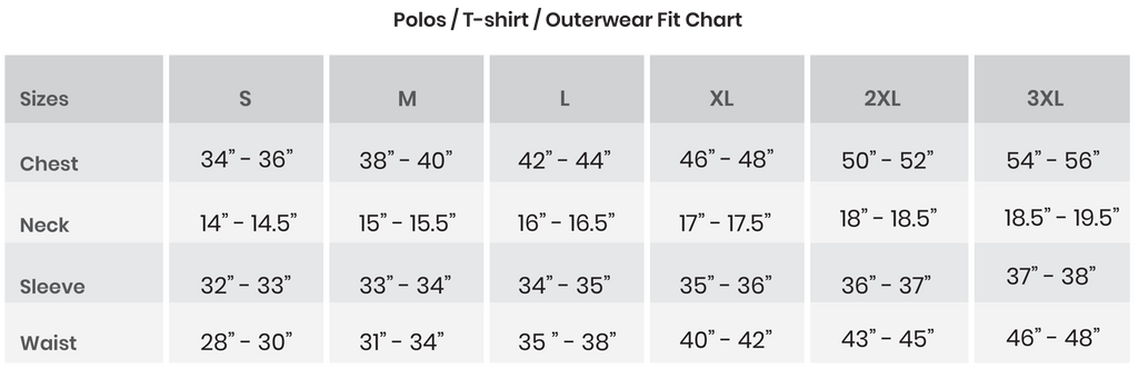 Polos / T-shirt / Outerwear Fit Chart
