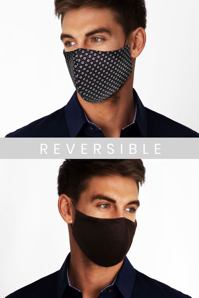 Face Mask - Window Pane in Red Pattern (Non Returnable)