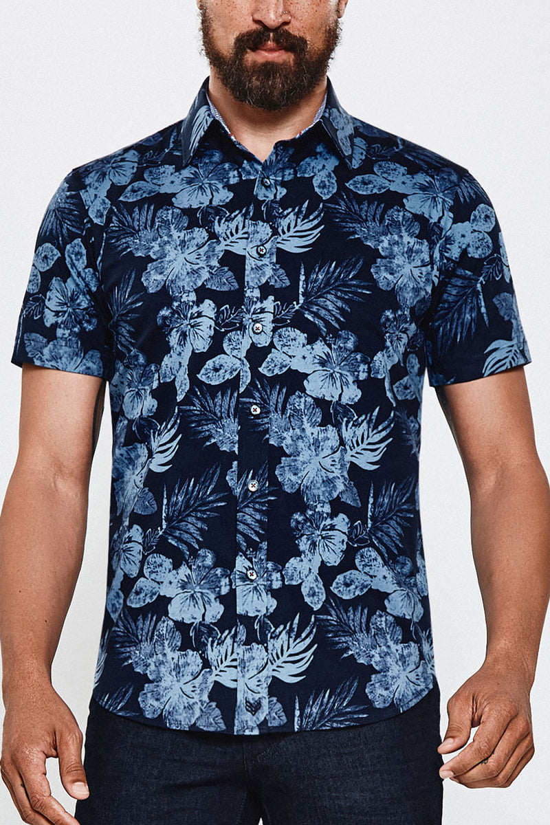 Hibiscus Fields in Navy