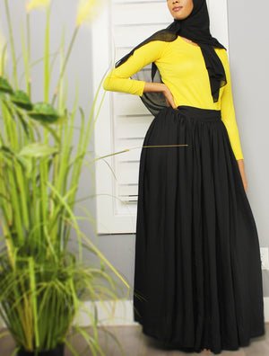 Bow Tie Chiffon Maxi Skirt in Black