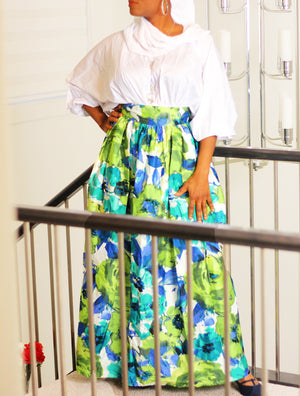 Boss Lady High Waist Pleated Maxi Skirt