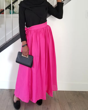 Bow Tie Chiffon Maxi Skirt in Pink