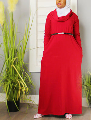 Cowl Chic Elastic Waistline Dress