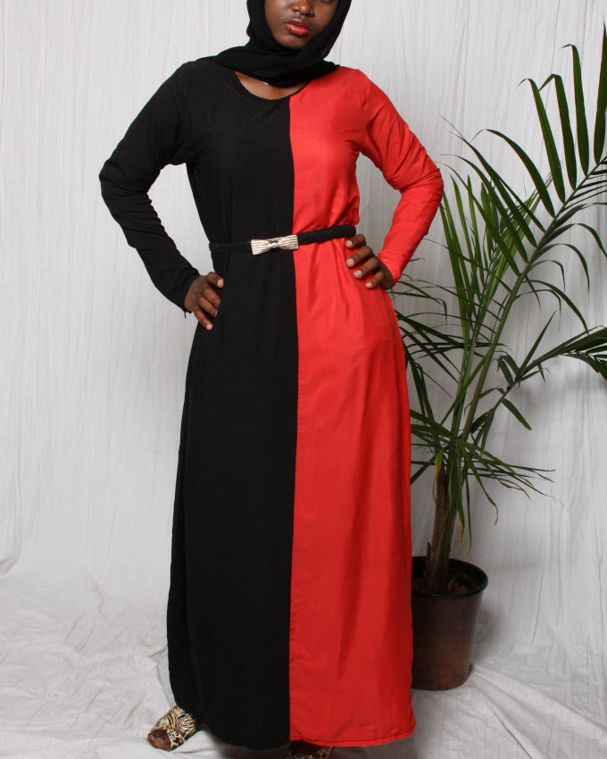 Black-and-Red Mix Colour Dress