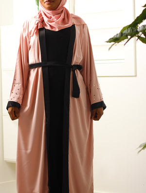 Adorable in Pearls Open Abaya