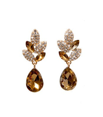 Drop earing with crystal and cognac stones