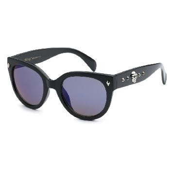 Black and Blue Lens Skull and Stud Detail Sunglasses