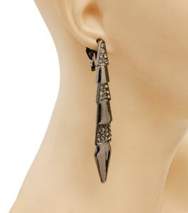 Hematite and Rhinestone Long Drop Earrings