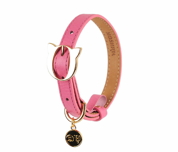 Land of Meow Moshiqa Lilo Cat Collar Pink with Gold Buckle