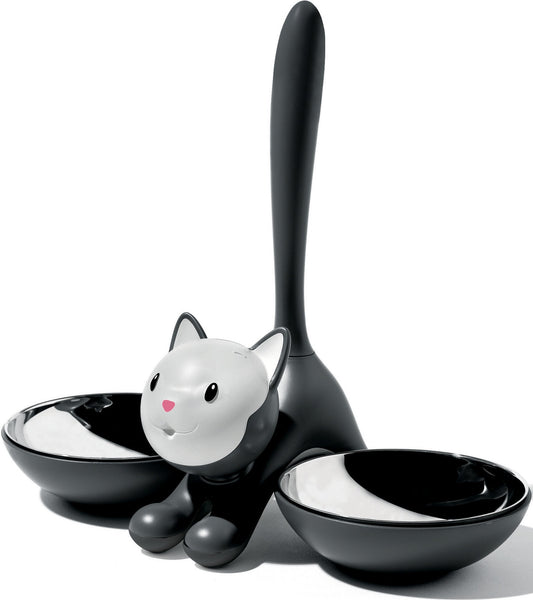 Land-of-Meow-Alessi-Tigrito-Double-Bowl-Black-Front