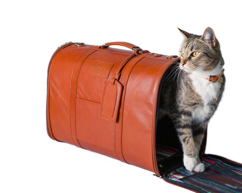 Land of Meow | Hartman and Rose Cognac Leather Travel Bag Cat Carrier