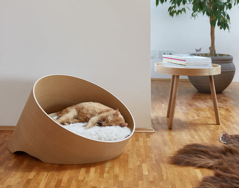 Land of Meow | Mia Cara Covo Cat Cave - Oak/Ivory
