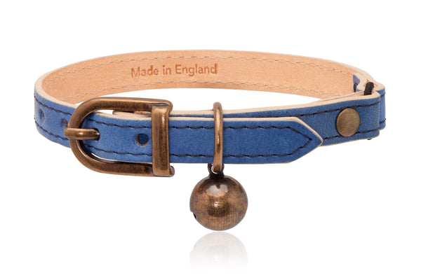 Land of Meow | Linny Cat Collar Blue with Antique Bronze Bell Front