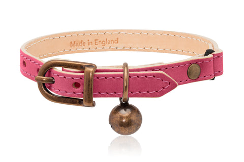 Land of Meow | Linny Cat Collar Fuchsia Pink with Antique Bronze Bell Front