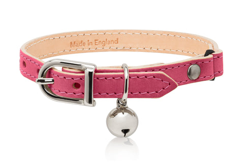 Land of Meow | Linny Cat Collar Fuchsia Pink with Silver Bell Front