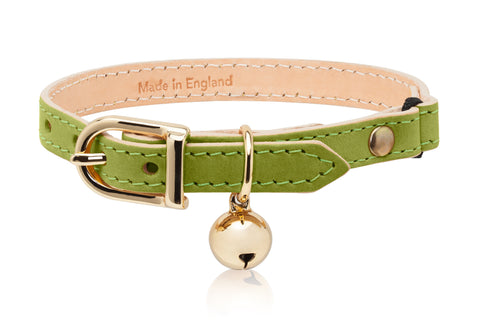 Land of Meow | Linny Cat Collar Lime Green with Gold Bell Front