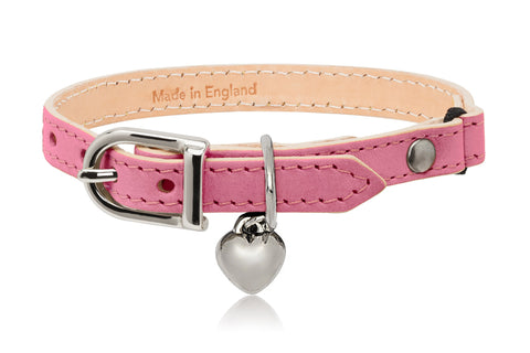 Land of Meow | Linny Cat Collar Pink with Silver Heart Charm Front