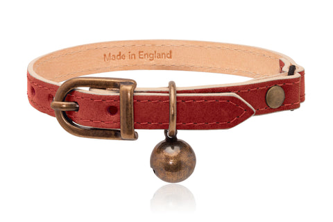 Land of Meow | Linny Cat Collar Red with Antique Bronze Bell Front