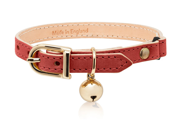 Land of Meow | Linny Cat Collar Red with Gold Bell Front
