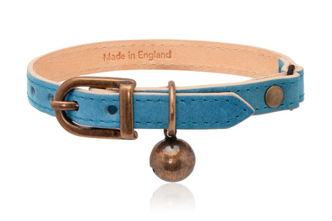 Land of Meow | Linny Cat Collar Sky Blue with Antique Bronze Bell Front