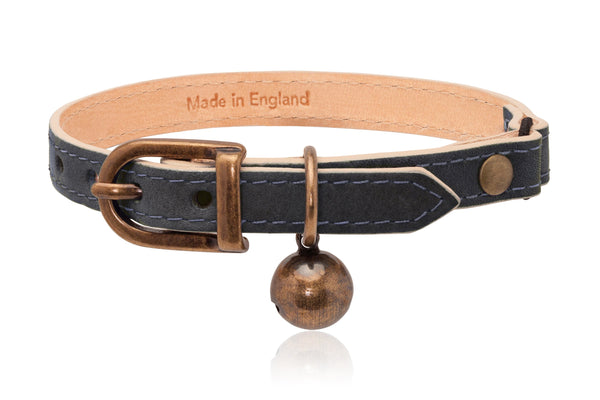 Land of Meow | Linny Cat Collar Slate Grey with Antique Bronze Bell Front