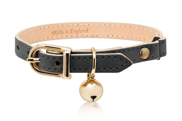 Land of Meow | Linny Cat Collar Slate Grey with Gold Bell Front