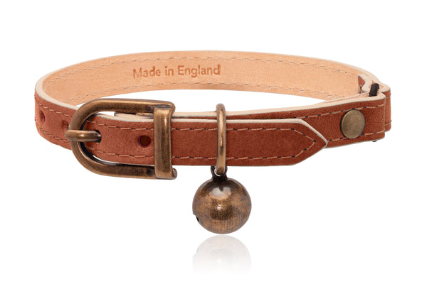 Land of Meow | Linny Cat Collar Tan Brown with Antique Bronze Bell Front