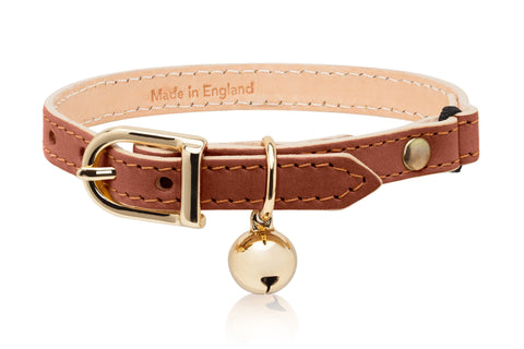 Land of Meow | Linny Cat Collar Tan Brown with Gold Bell Front