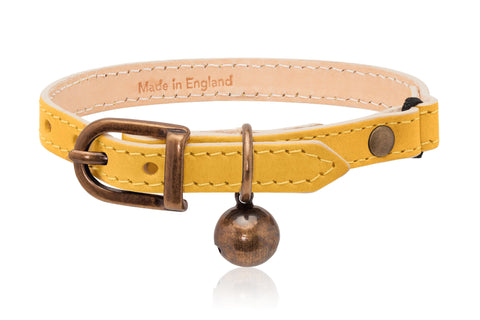 Land of Meow | Linny Cat Collar Yellow with Antique Bronze Bell Front