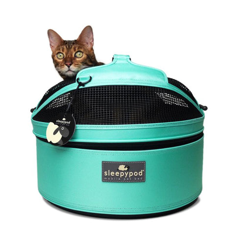 Land of Meow SleepyPod Cat Carrier Robin Egg Blue Front with Cat