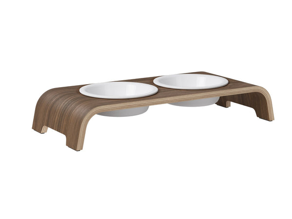 catBar Feedbowls Porcelain - Walnut