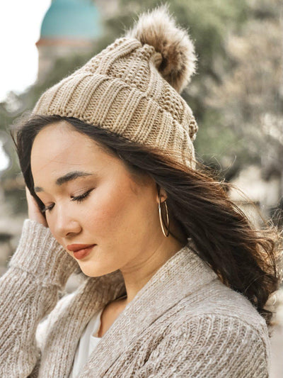 Pom Pom On Beanie - Camel-Women's -New Arrivals-Runway Seven