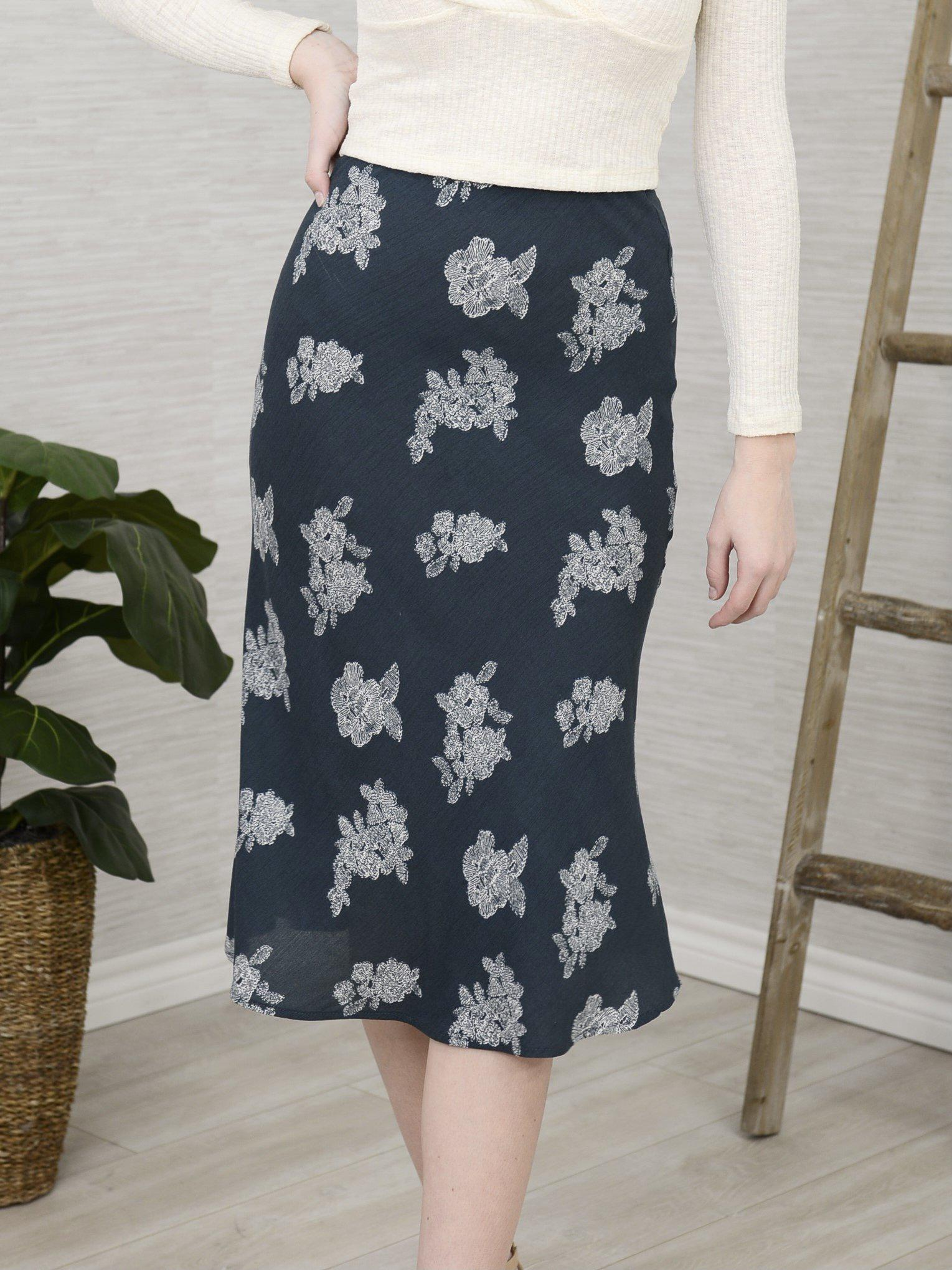 Modern Florals Skirt-Women's -New Arrivals-Runway Seven