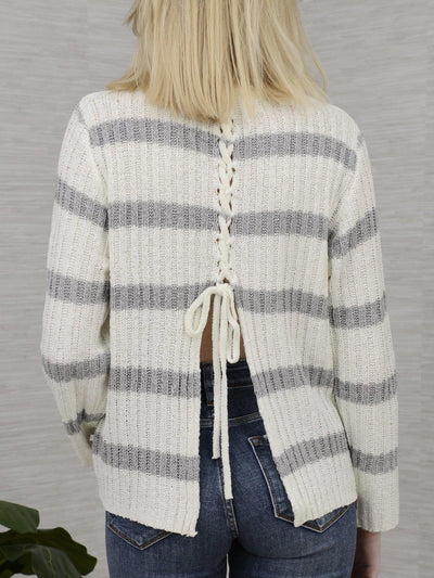 Laced and Striped Sweater-Women's -New Arrivals-Runway Seven