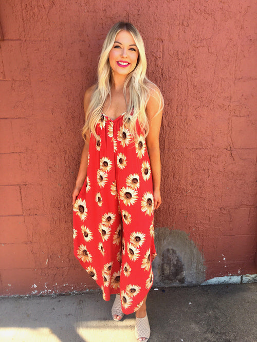 Sunflowers Jumpsuit-Women's ROMPER-New Arrivals-Runway Seven