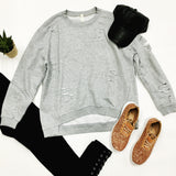 Cut To It Distressed Sweatshirt