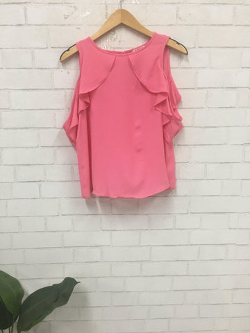 Running Late Cold-Shoulder Top-Pink