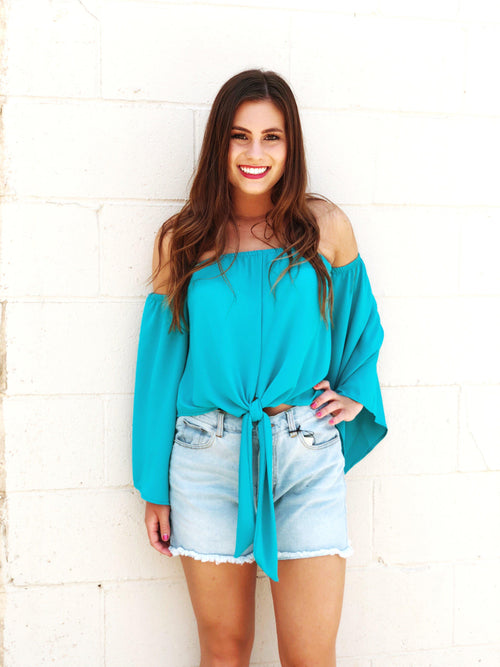 Electric Turquoise Top-Women's TOP-New Arrivals-Runway Seven