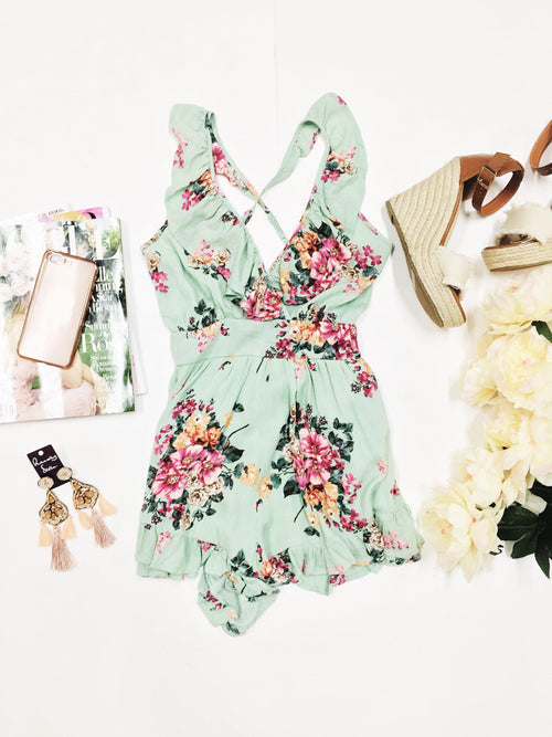 Mint Tea Floral Romper-Women's ROMPER-New Arrivals-Runway Seven